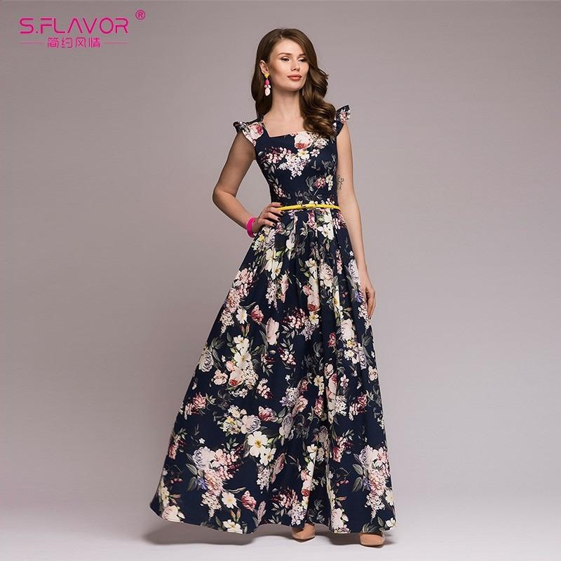 Women Printing Party Dress Sexy Long Vestidos